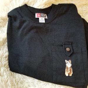 Vintage nineties 90s cat iron-on patch black tee